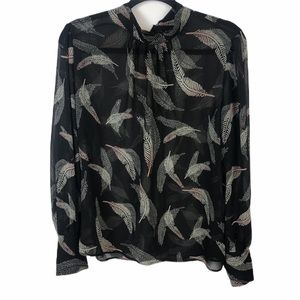 Who What Wear Black Sheer Blouse Feather Print